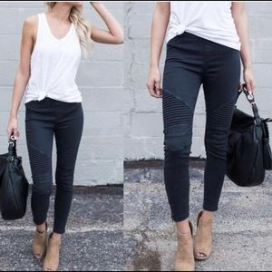 Pants - Black Stretchy Biker Pants.